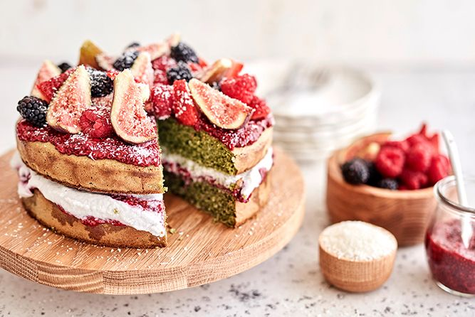 GREEN SPONGE CAKE WITH RASPBERRY CHIA JAM, WHIPPED COCONUT CREAM AND FRUIT