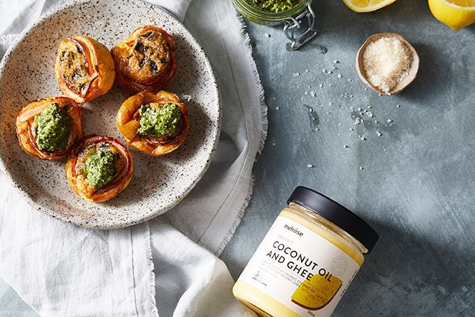 BACON AND EGG CUPS WITH BASIL PESTO
